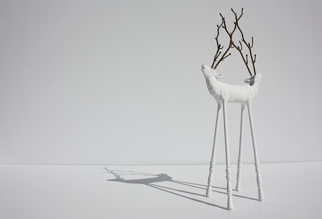 Sculpture of Taxidermy deer by Karley Feaver