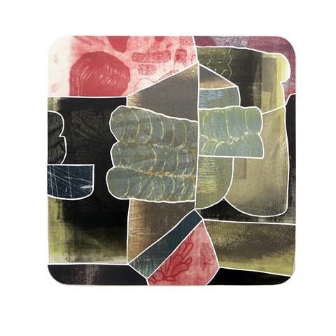 "Geogrammatical Errors #3 Woodcut, Monotype and Relief 18""x18"""