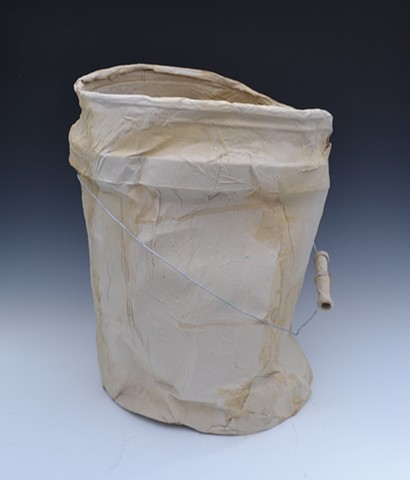 paper mache, bucket, assemblage, casting