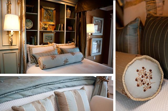 Elegant master bedroom, custom designed headboard, opulent fabrics