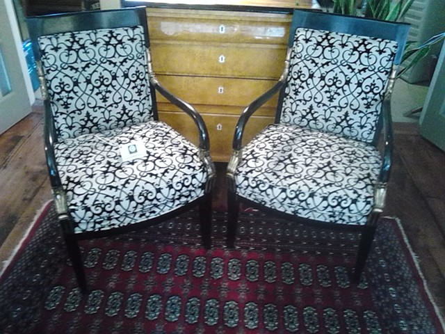 Black & gold chairs