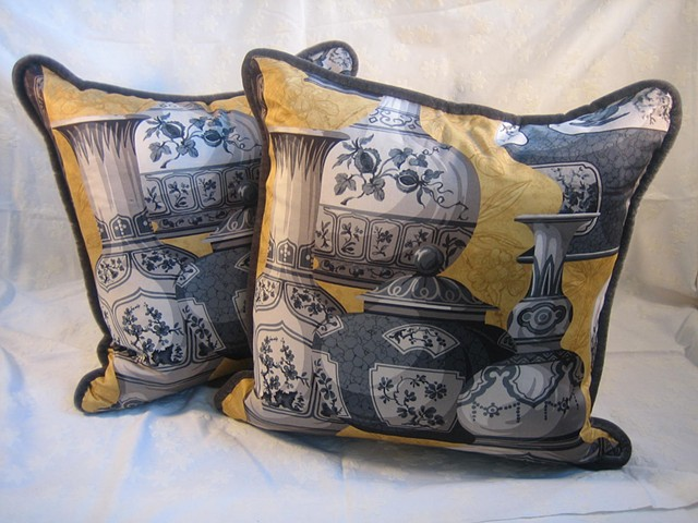 Pair of yellow & gray urn pillows