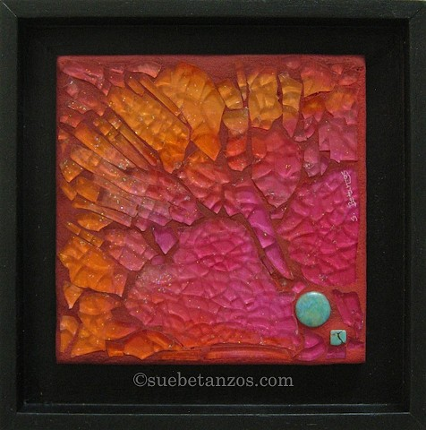 sue betanzos, glass mosaic, nebula, turquoise, pink mosaic, orange mosaic, contemporary mosaic, stones, sunset mosaic, pink, orange, yellow, tempered glass
