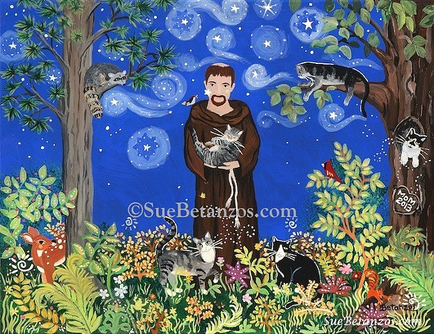 St Francis Print, sue betanzos, St. Francis, dog, cat, pet, pet portrait, pet memorial, forest wildlife, saint, angel, deer, cardinal, starry night