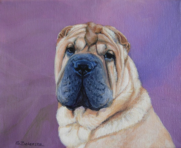 dog, pet, animal, pet portrait, Shar Pei, amethyst, chinese, contemporary