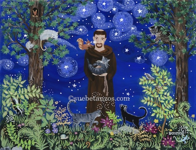sue betanzos, St. Francis of Assisi, dog, cat, pet, pet portrait, pet memorial, forest wildlife, saint, catholic art, catholic saint, St. Francis of Assisi artwork, St. Francis of Assisi painting, St. Francis of Assisi glass painting, starry night paintin