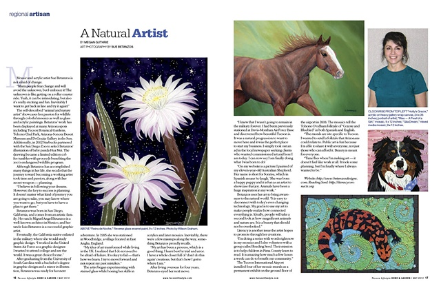 sue betanzos, tucson lifestyle magazine, wildlife, animals, artwork, fine art, sue betanzos, mosaics, acrylic painting, reverse glass painting, artist article