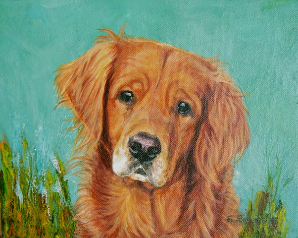 sue betanzos, dog painting, Golden Retriever painting, pet, sporting dog, animal, retriever, pet portrait,