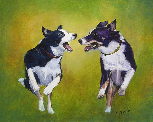 border collie print, border collie art, sue betanzos, border collie painting, pet painting, herding dog painting, collie painting, pet portrait painting, contemporary dog painting, contemporary border collie painting