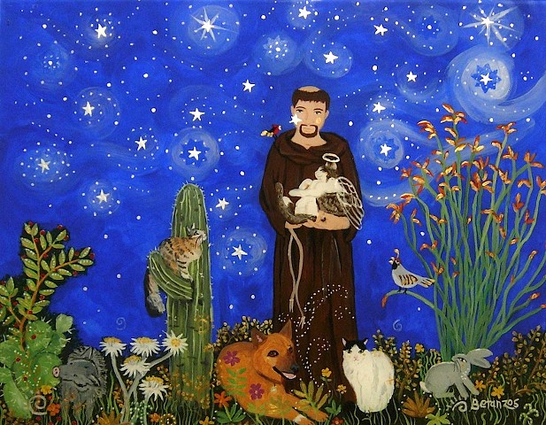 Digital print 8x10 St Francis Print, St. francis of Assisi, catholic art, catholic saint, sue betanzos, st. francis painting, dog painting, cat painting, pet glass painting, pet portrait, pet artwork, pet memorial artwork, desert wildlife painting, south