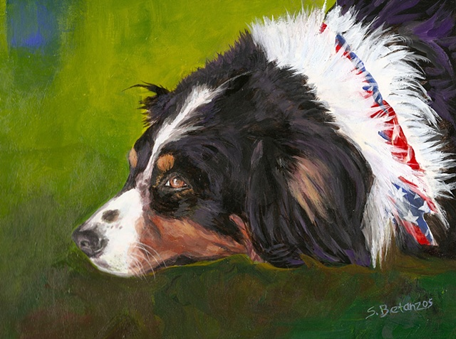 sue betanzos, Aussie, dog painting, australian shepherd painting, pet portrait painting, dog painting, contemporary dog painting, herding dog painting, pet memorial painting,