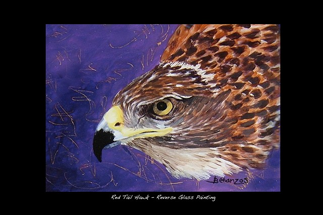 raptors, hawk, reverse glass painting, red tailed hawk, southwest, wildlife. arizona, SueBetanzos