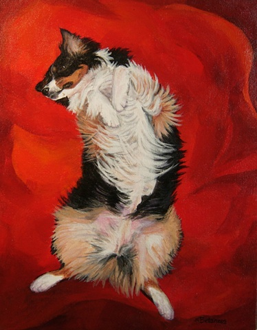 sue betanzos, aussie painting, dog painting, australian shepherd painting, pet portrait painting, contemporary dog painting, herding dog painting, red dog painting,