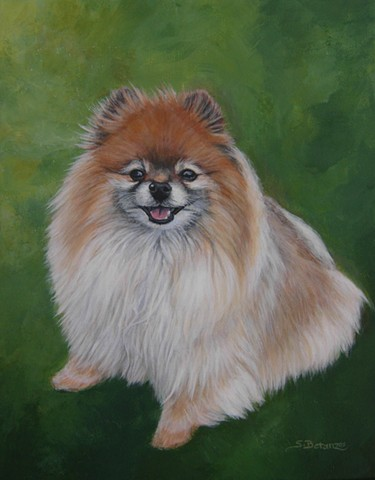 sue betanzos, green, dog, pomeranian painting, pet painting, animal, dog painting, pet portrait, pet memorial painting