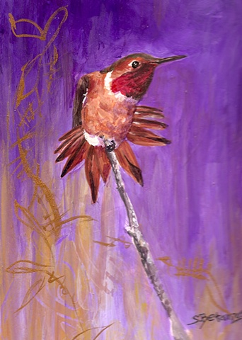 sue betanzos, Rufous Hummingbird painting, bird painting, southwest bird painting, hummingbird painting, contemporary hummingbird painting, hummingbird painting,  contemporary wildlife painting, bird painting, hummingbird painting