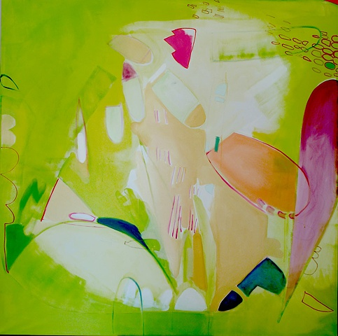 "Watercolour For Wieland Mirana Zuger Abstract 66"" x 66"" 2007 Painting"