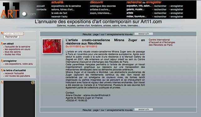 L'actualité de l'art contemporain Art11 actu N°534 - du 28 novembre au 5 décembre 2012