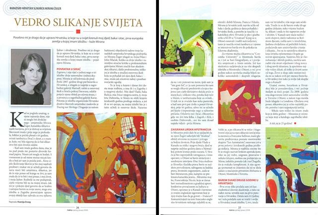 Matica Magazine, Vedro Slikanje Svijeta by Ksenija Erceg, pp.26-27, Zagreb, Croatia