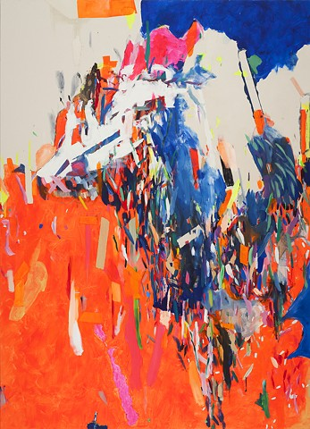 Neon Mammoth, Mirana Zuger, Galerie d'Art d'Outremont, Montreal, Canadian Abstraction, Abstract, Abstract Painting, Accumulation of Marks, Contemporary Art, Painting, Fluorecent, Pigment, Paint