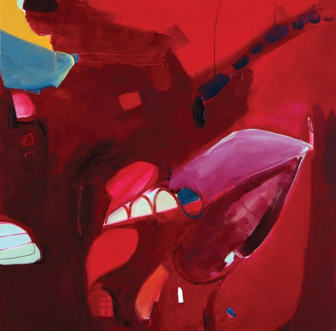 Mirana Zuger Abstract oil on canvas 2007 Abstraction Cherry Village Painting Kufner Collection