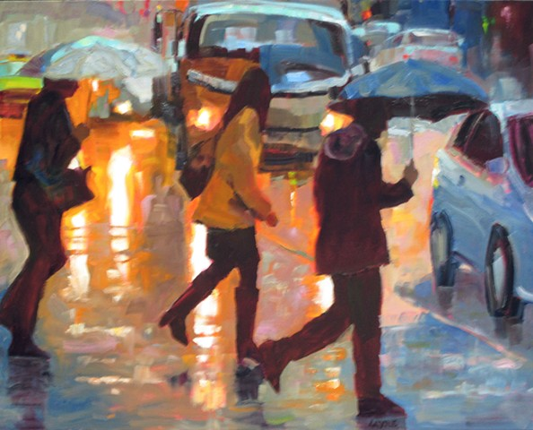 urban scene of figures in the rain
