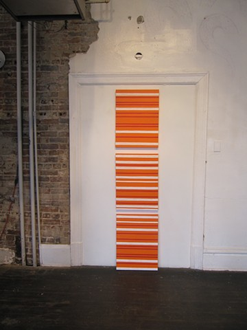Orange/Green/Red/White Vertical Line, Gallery Image