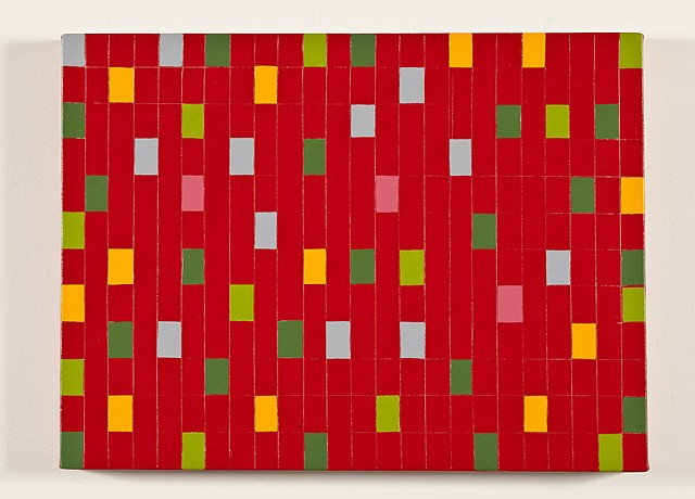 Red Grid With Colored Rectangles #4