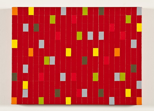 Red Grid With Colored Rectangles #1