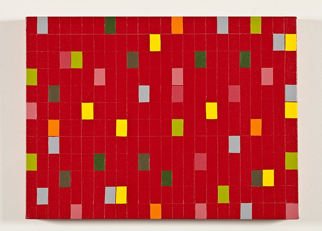 Red Grid With Colored Rectangles #3
