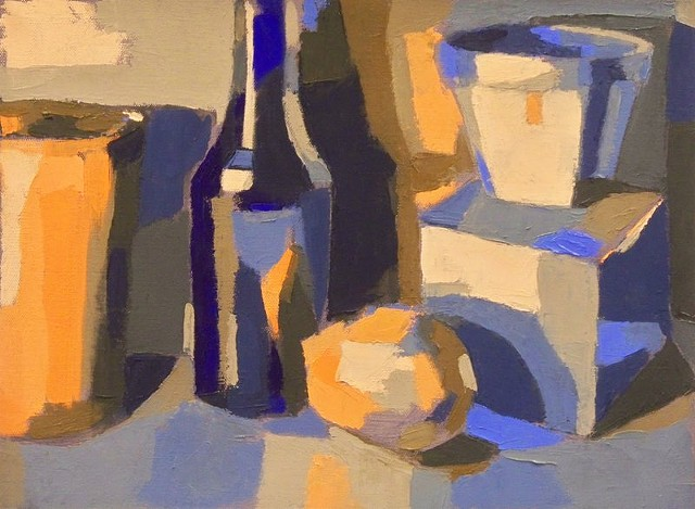 Complementary Still Life (Blue/Orange + White)