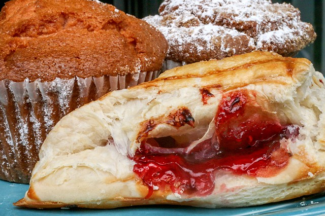 Sweet Treats - A raspberry turnover, peach cranberry apple, and cinnamon chip muffin are sure to satisfy!