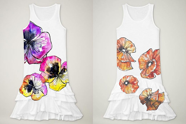 Girl's Floral Dress Design Mock-Ups - Pansies and Poppies