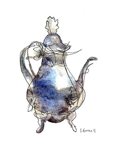Silver Teapot Blind Contour