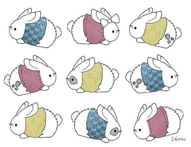 Bunnies in Sweaters (Pastel)