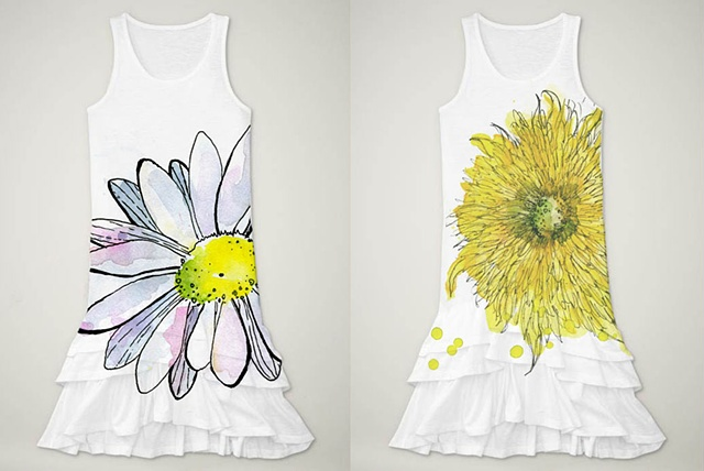 Girl's Floral Dress Design Mock-Ups - Daisy and Sunflower