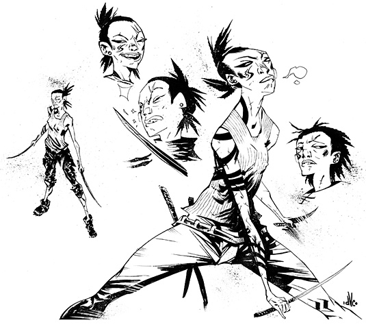 Character designs for SCRAPER, a comic book collaboration with writer Chris Kirby