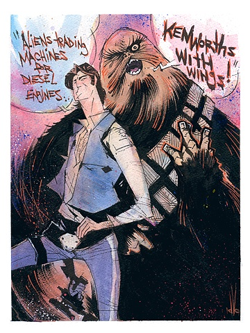 Han Solo & Chewbacca The Wookiee, from STAR WARS.