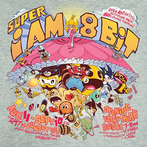Promotional poster for SUPER IAM8BIT gallery exhibit / Los Angeles 2011 / colors by Len O'Grady