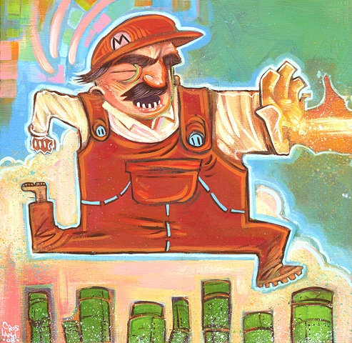 Super Mario Brothers-themed painting for I AM 8-BIT gallery exhibition