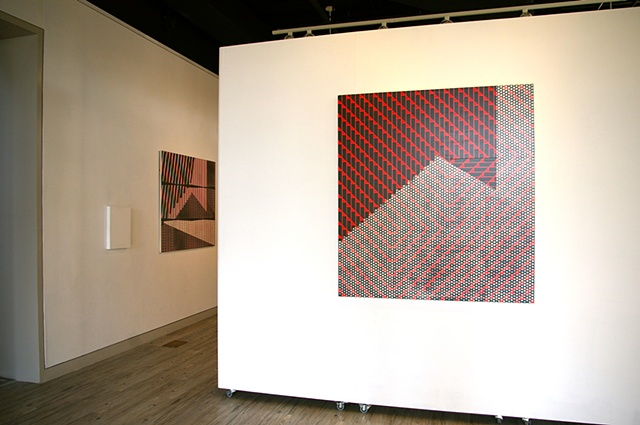 Ctrl+P installation view: Jungil Hong, Stripes with Polka Dots (l) and Grill with Polka Dots (r)