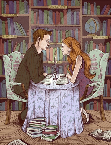 """Love in the Library""  Editorial Illustration"
