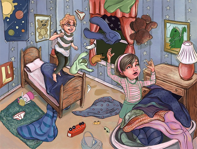 """Full color spread from children's book """"The Unfortunate Cookie"""""""