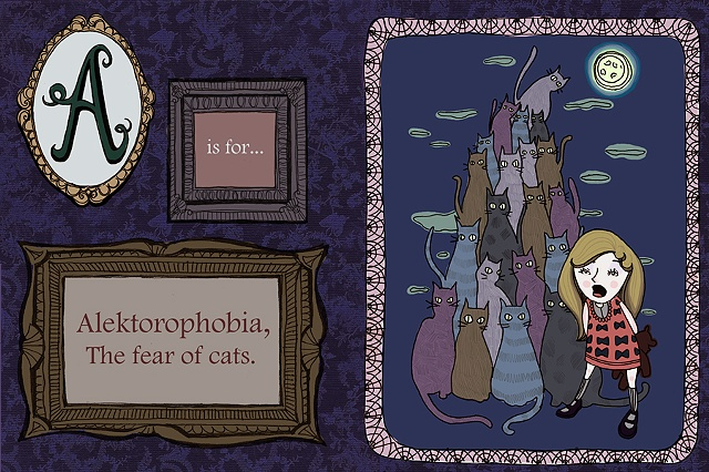 Full color spread for a children's / young adult alphabet book about phobias