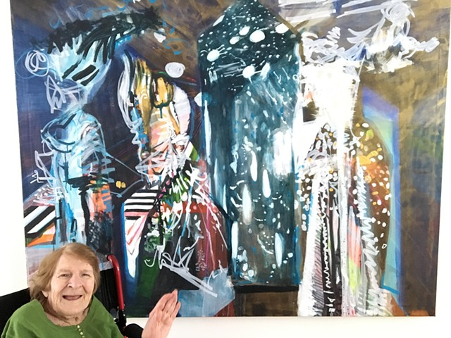 "Lillian Spellman with ""Black and White Party"" at the ""Weaving Longitudes"" Community Opening"