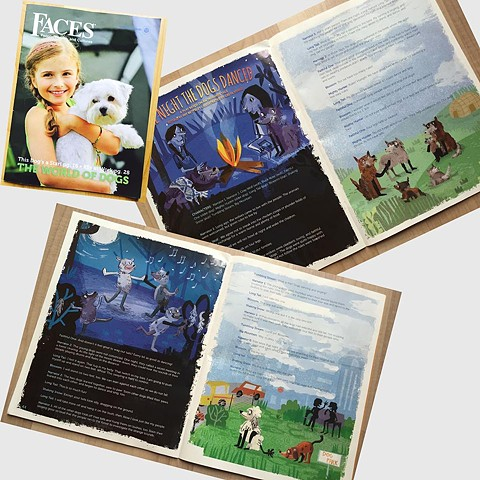 Faces Magazine (October 2016 issue)  Iroquois Folk Tale Illustration  Cricket Media