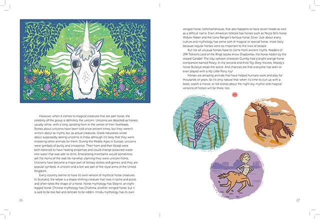 Mythical Beasts, Horse Illustrations for Faces Magazine, Cricket Media, October 2017 (page 2)