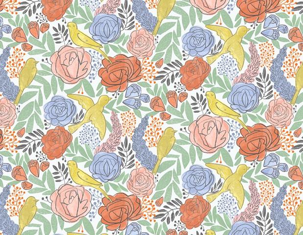 Bird and Flower Pattern I