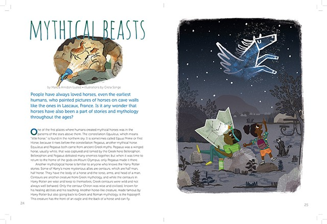 Mythical Beasts, Horse Illustrations for Faces Magazine, Cricket Media, October 2017 (page 1)