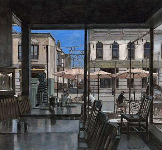 Painting of the Pullman Bar and Diner Iowa City. John Martinek