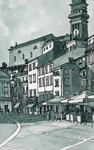 Piran Slovenia Tartini Square.  John Martinek, Pen and Ink